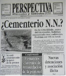Tapa del diario Perspectiva Sur, 20 de mayo de 1992