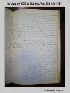 Hoja 392, del 1er libro del HCD de Quilmes, de 1891.